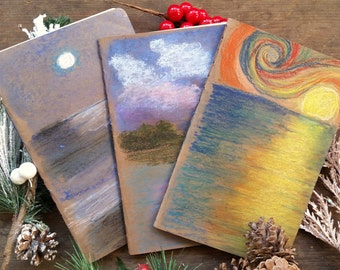 Pack of 3 blank notebooks / journals (big), cardboard covers, 32 pages, rounded corners, cotton sheets, stitched spine, sketching/writing