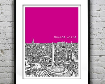 20% OFF Memorial Day Sale - Buenos Aires Argentina Skyline Poster Art Print Obelisco Version 5