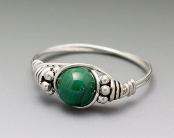 Malachite Bali Gemstone Sterling Silver Wire Wrapped Beaded Ring - Made to Order, Ships Fast!
