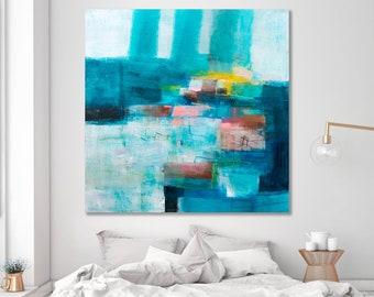 Große abstrakte Malerei auf Leinwand, Küsten-Malerei, große Strand Leinwand, große Gemälde abstrakt, Ozean Kunst 40 x 40 DUEALBERI
