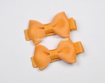 Mini Hair Bows ~ Creamsicle Hair Bow Set of 2 Small Hairbows - Girls Hair Bows - Clippies - Baby Hair Bows ~ No Slip Grip always added