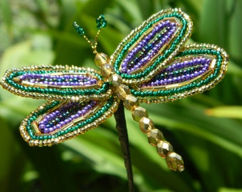 Green, Purple, and Gold Mardi Gras Inspired French Beaded Dragonfly Stem