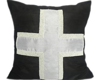 Black White Swiss Cross Pillow Cover Beaded Swiss Cross Black White Swiss Cross Sham 14x14 16x16 18x18 20x20 22x22 24x24 26x26