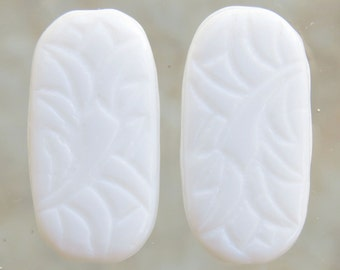 LARGE 25x12mm Opaque White Engraved Czech Glass Oval Beads - Qty 6 (BS170)
