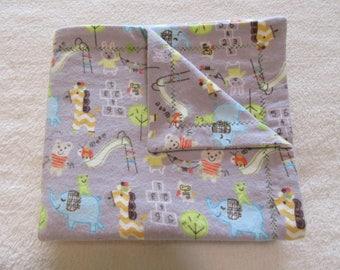 Jungle Animal Playground Flannel Receiving Blanket