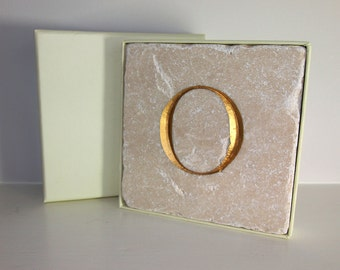 Hand Carved Gold Letter 'O' in Stone Wall Tile.  Personalised Gift.  Wall hanging. Decorative Arts.  Letter Carving