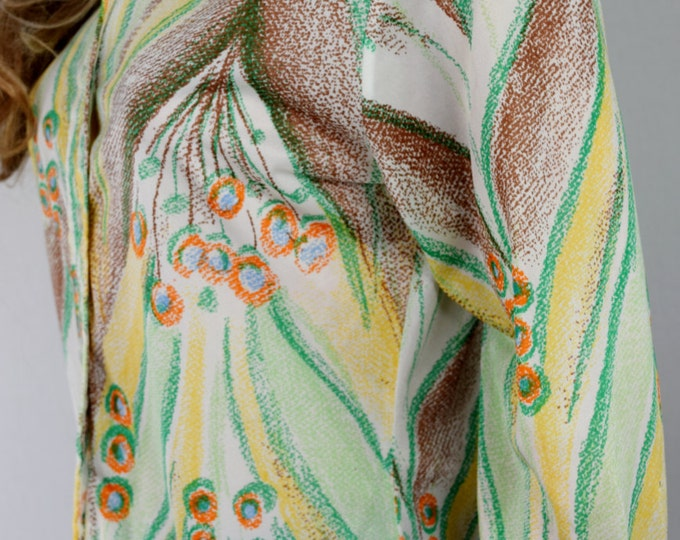 Vintage 1970's Mr. DiNo PEACOCK Feather HiPPiE MoD Couture womens DiScO Shirt Blouse M L