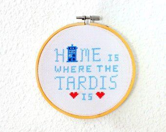 Doctor Who Tardis Embroidery Cross stitch hoop