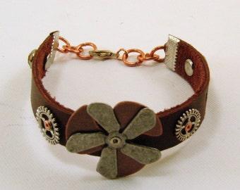 Leather Steam Punk Mixed Metal Bracelet, Leather Bracelet