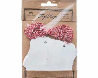 White Gift Tags With Red and White Twine, White Gift Tags, White Tags, Tags, Labels, Gift Tags, Gift Wrap, Stationery, Wedding Decorations