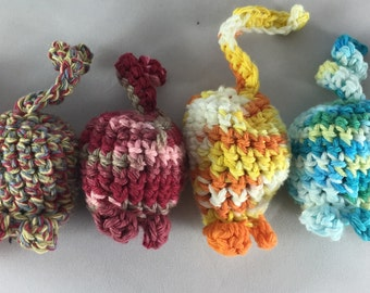 Handmade Cat Toy, Hand Crocheted, 100% cotton, Catnip Mouse Toy, Jingle Bell Cat Toy, Crinkle Cat Toy