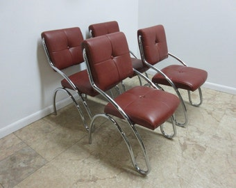4 Mid Century Chrome Floating Cantalever Dining Room Side Chairs Set