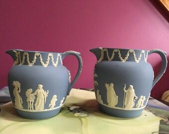 Pair of Blue Jasperware Jugs