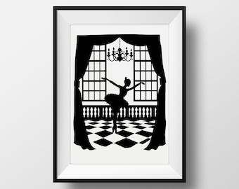 Tchaikovsky Swan Lake: Odile the Black Swan, Giclée Archival Illustrated print , Ballet Fairytale Silhouette Monochrome  Digital Art