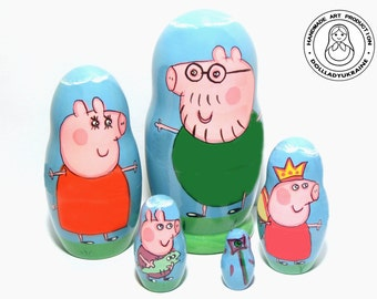 "Peppa Pig Nesting Dolls 11 cm 4,3"", Kids Gift, Matryoshka Doll 5pcs, Funny Gifts, Kids Room Decor, Gift for Kids, Toddler Gift, Peppa"