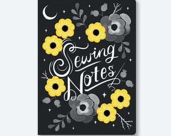 """Sewing Notes Notebook - Sarah Watts Original Artwork - Notebook Size 5.4"""" x 7.5 inches - Listing is for ONE Notebook"""