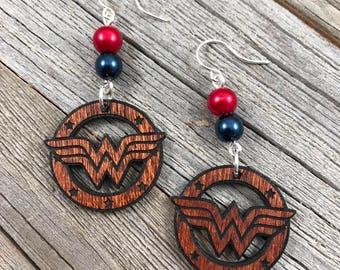 Wonder Woman Laser Engraved Wood Earrings