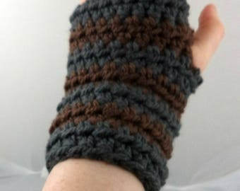 Dark Gray and Brown Striped Crocheted Wrist Warmers (size S-M) (SWG-WW-SJ14)