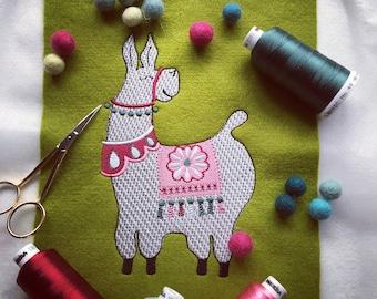 Llama digital machine embroidery design 4x4 3x5 5x7 | Flowerdog Designs