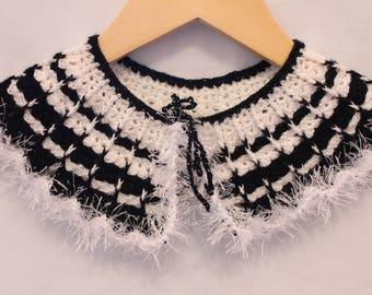 Lace Detachable Collar, Peter Pan Collar, Neck Accessory, Black, 100% Cotton, Victorian Lace Collar, Women's Fashion and Accessories, Retro