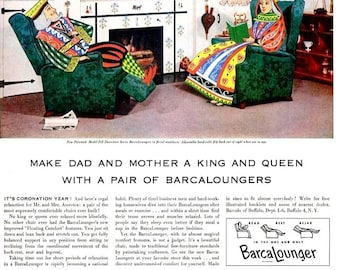 1953 BarcaLounger Recliner Chairs & Purex Dry Bleach Advertisements Ads Print Poster Sign Gambling Poker Room Cards Wall Art Home Decor