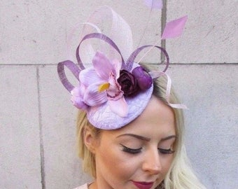 Light Lilac Plum Purple Feather Flower Pillbox Hat Fascinator Hair Clip 4463