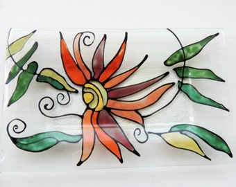 Fused glass plate,hand painted fused plate,red orange green flower rectangle glass plate for your home