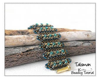 Beading Patterns, Instructions, Tutorials, Cubic Right Angle Weave, CRAW, Embellished Ridges Cuff  Instant Download Pattern TALISMAN