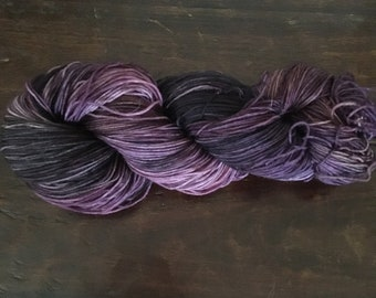 Hand dyed sock yarn, kettle dyed sock yarn, 75/25 merino/nylon sock yarn, purple tonal sock yarn