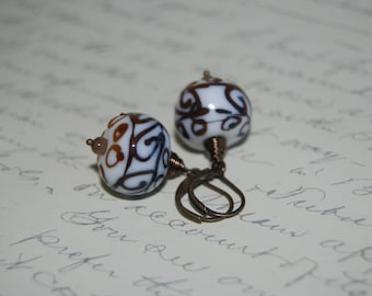 Wire Wrap Style White Brown Accent Ceramic Earrings.