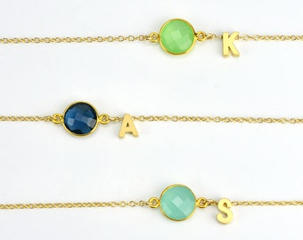 Custom necklace, personalized initial necklace, bridesmaid gift ideas, birthstone necklace for mom, birthday gift for women, mommy necklace