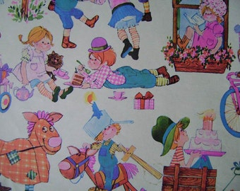 Vintage 1970s Gift Wrap Happy Birthday--Cute Kids Print Vintage Wrapping Paper--2 Sheets