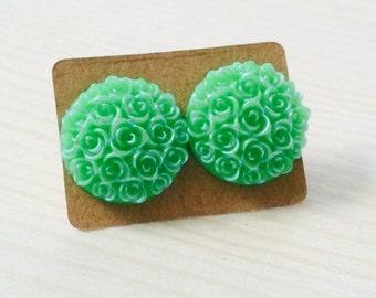 Mint green bouquet post earrings