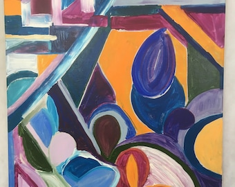 "Unicorn Heart, 24x24"", original abstract painting"