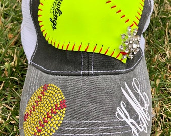 Softball Hat With Bling Personalized with Players Number or Initials--Great Softball Gift