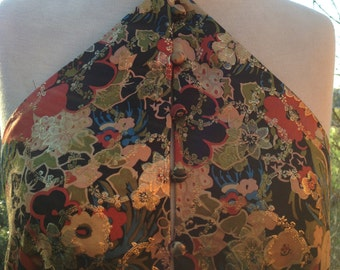 Vintage 90's Asian Style Multi colored Floral Silk Evening Gown Size 4