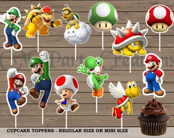 Mario Brothers Cupcake Toppers, Die Cuts, Birthday Party Cupcake Toppers