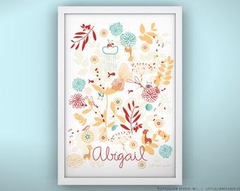 """Baby Wall Art Print - Botanical Garden and Little Friends - Unframed Print - 13 x 19"""""""