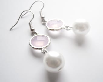 Pastel Pink Silver Framed Glass Earrings with Pearl
