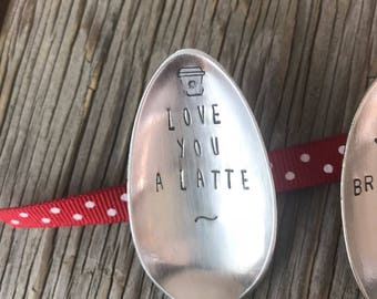 Fun coffee gift Vintage flatware stamped spoon- Love you a latte coffee lovers gift ready to ship gift for coffee lovers spoon