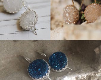 Deep blue,White,Beige druzy quartz earrings 14 karat gold filled,925 Sterling Silver