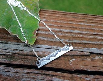 Berg Bar Halskette, Sterling Silber, von Hand gefertigt, jedes eine verschiedene