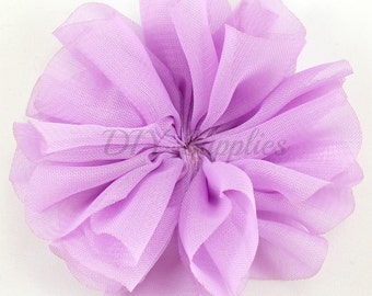 Lavender ballerina flower - 3.5 inch fabric flower - Large double ruffle flower - Wholesale flowers - Twirl flower for headbands