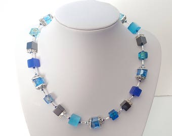 Blue Cube Necklace, Blue Glass Cube and Black Hematite Cube Beaded Necklace, Light Blue Beaded Necklace, Blue and Black Necklace