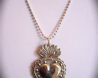"""Intricate 2.5"""" SACRED HEART Milagro Pendant and 24"""" sterling silver plated necklace- Perfect for your holiday gift giving"""