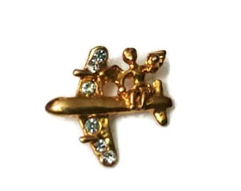 Avon Gold Ribbon with Pink Rhinestones Pinback Lapel Pin Tie Tack Hat Pin