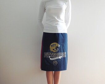 University of Pittsburgh T Shirt Skirt Pitt Panthers Womens Clothing Handmade Cotton Upcycled Tees Sports Team Football Basketball