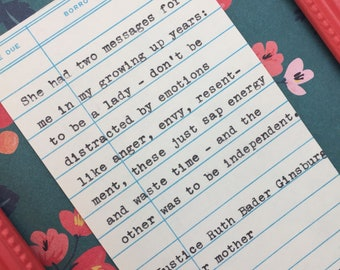 Ruth Bader Ginsburg Mother Quote- typed quote on library due date card - Mother's Day