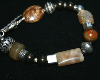 MOCHA MADNESS Agate, Bronzite, Glass and Sterling Bracelet