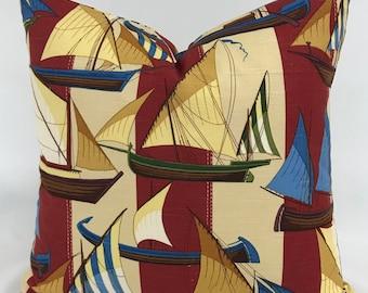 Pillow Cover - Nautical Pillow - Sailboat Pillow - Coastal Pillow - Boys Room Pillow - Boat Pillow - Seashore Pillow - Lined Pillow-Zippered